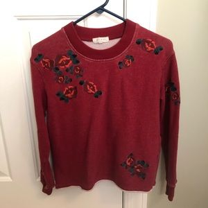 Madewell Red Rose Distressed Sweatshirt